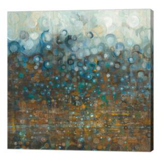 Metaverse Art Blue and Bronze Tone Dots Canvas Wall Art