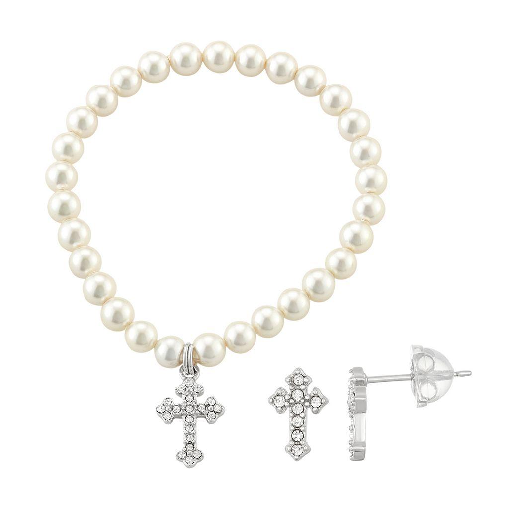 Lulabelle Kids' Shell Pearl & Crystal Cross Stretch Bracelet & Stud Earring Set