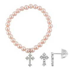 Lulabelle Kids' Shell Pearl & Crystal Cross Stretch Bracelet & Stud Earring Set