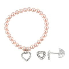 Lulabelle Kids' Shell Pearl & Crystal Heart Stretch Bracelet & Stud Earring Set