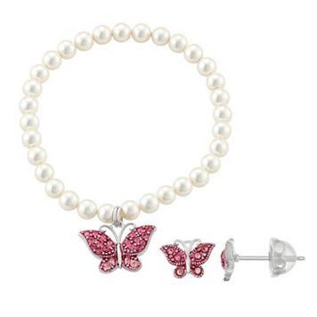 Lulabelle Kids' Shell Pearl & Crystal Butterfly Stretch Bracelet & Stud Earring Set
