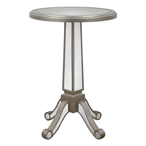 Decor Therapy Mirrored Pedestal End Table
