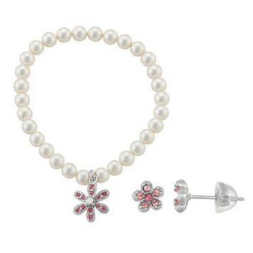 Lulabelle Kids' Shell Pearl & Crystal Flower Stretch Bracelet & Stud Earring Set