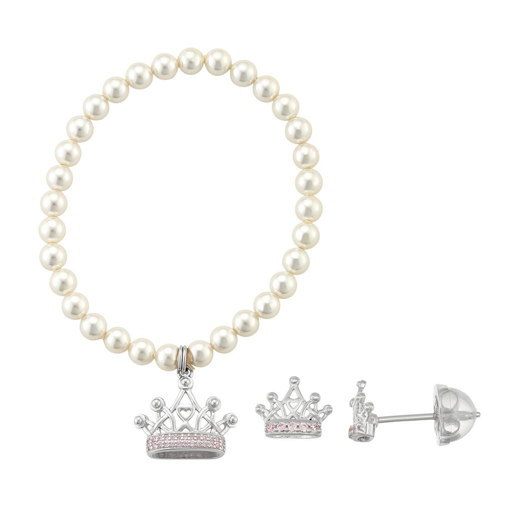 Lulabelle Kids' Shell Pearl & Cubic Zirconia Crown Stretch Bracelet & Stud Earring Set