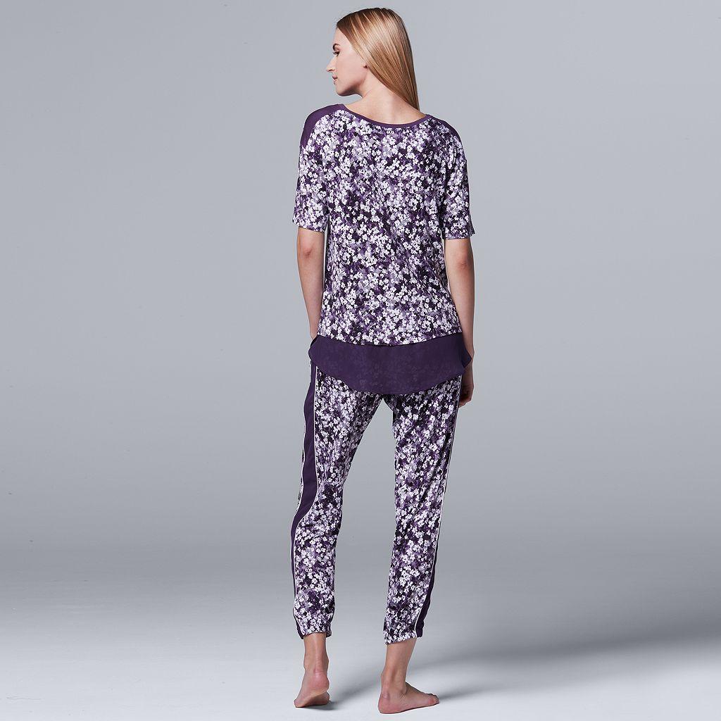 Women's Simply Vera Vera Wang Pajamas: Midsummer Story Tee & Jogger Pants PJ Set