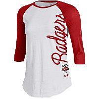 Women's Under Armour Wisconsin Badgers Raglan Baseball Tee