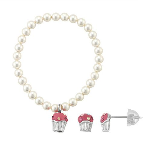 Lulabelle Kids' Shell Pearl & Crystal Cupcake Stretch Bracelet & Stud Earring Set