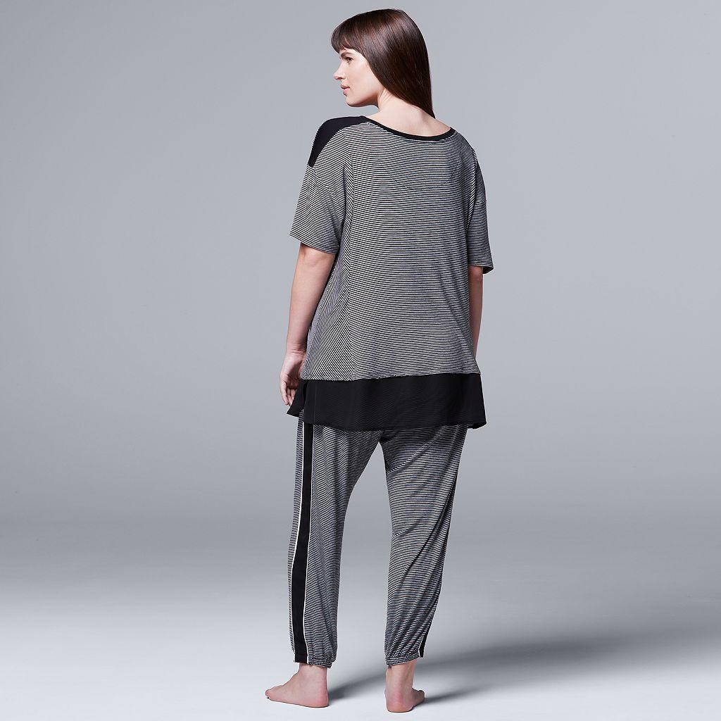 Plus Size Simply Vera Vera Wang Pajamas: Midsummer Story Tee & Jogger Pants PJ Set