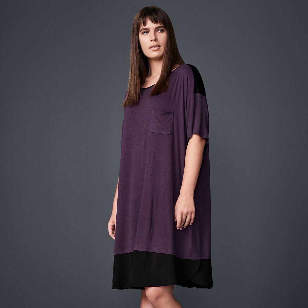 Plus Size Simply Vera Vera Wang Pajamas: Midsummer Story Short Sleeve Sleep Shirt