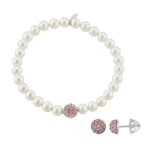 Lulabelle Kids' Shell Pearl & Crystal Ball Stretch Bracelet & Stud Earring Set