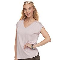 Juniors' Pink Republic Lace-Up Short Sleeve Tee