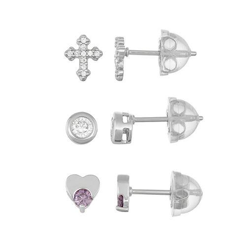 Lulabelle Kids' Sterling Silver Cubic Zirconia Cross & Heart Stud Earring Set