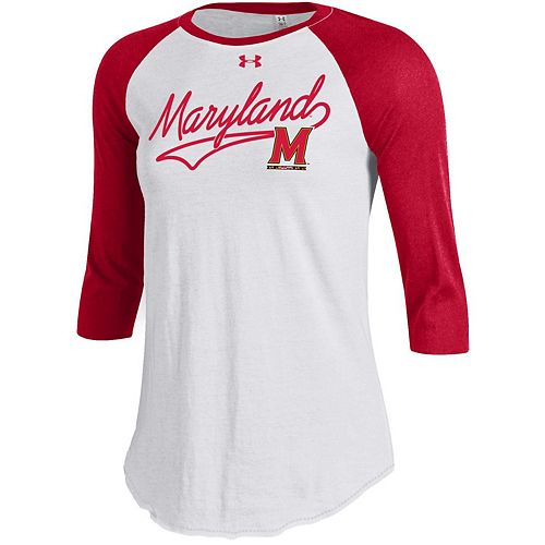 Women's Under Armour Maryland Terrapins Raglan Baseball Tee