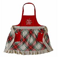 Peace, Love, Joy Plaid Christmas Apron