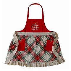 St. Nicholas Square® Peace, Love, Joy Plaid Christmas Apron