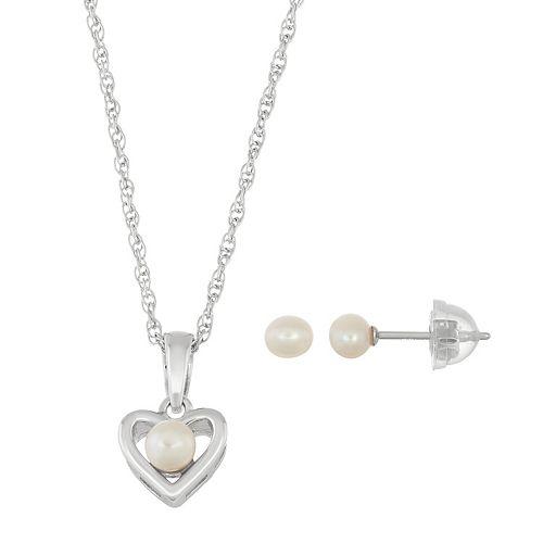Lulabelle Kids' Freshwater Cultured Pearl Heart Pendant & Stud Earring Set