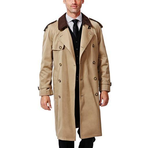 Big & Tall Ike Behar Classic-Fit Double-Breasted Rain Jacket