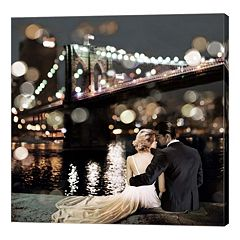 Metaverse Art Kissing in a NY Night Canvas Wall Art
