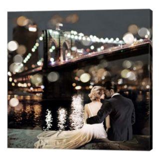 Metaverse Art Kissing in a NY Night Canvas Wall Art