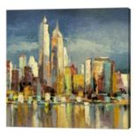 Metaverse Art Manhattan Aqua Canvas Wall Art