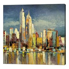 Metaverse Art Manhattan Aqua Canvas Wall Art
