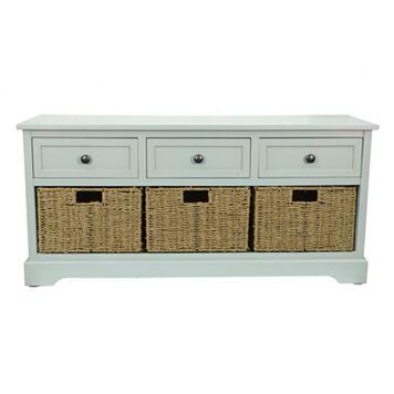 Decor Therapy Bench & Woven Basket 4-piece Set