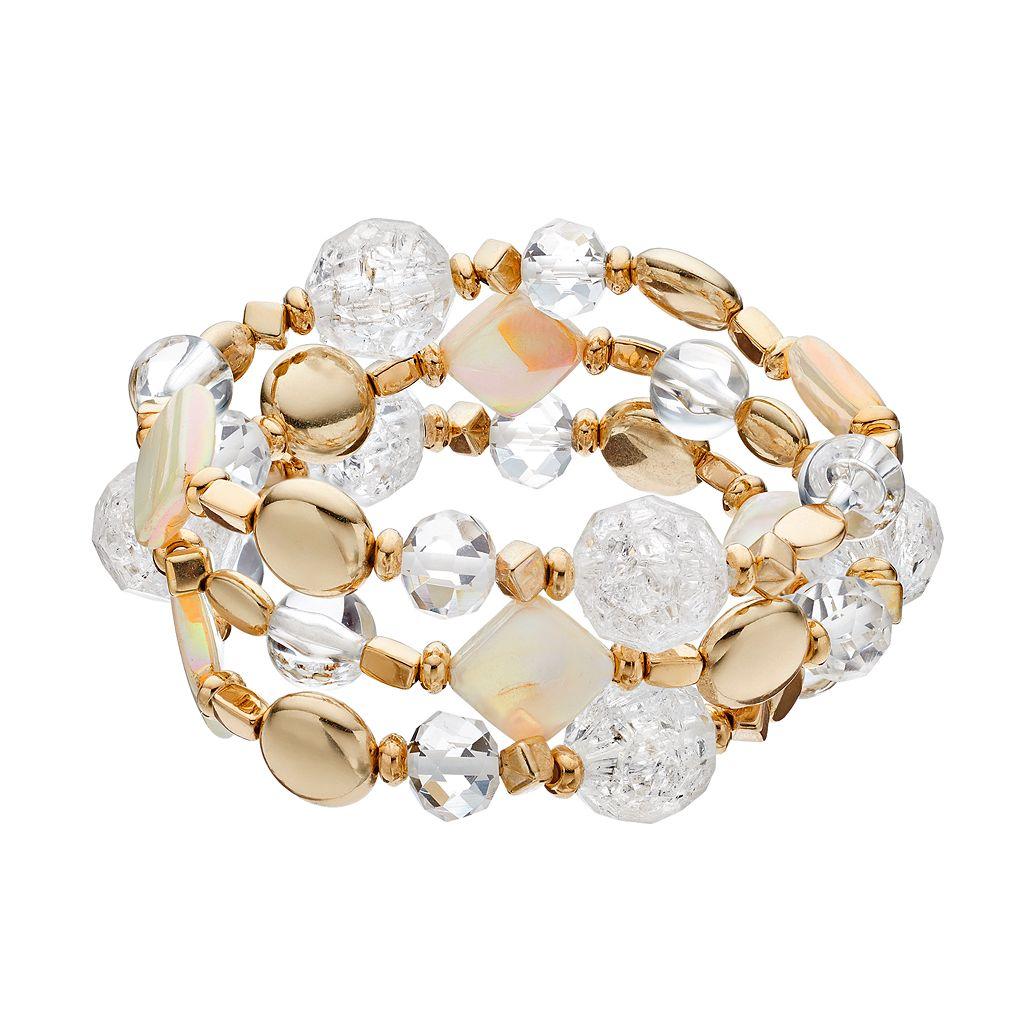 Clear Beaded Stretch Bracelet Set