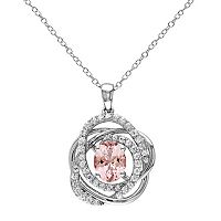 Sterling Silver Morganite & White Sapphire Knot Pendant