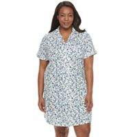 Plus Size Croft & Barrow® Pajamas: Sleeping In Short Sleeve Sleep Shirt