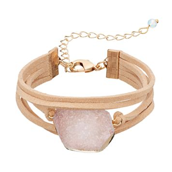 Pink Stone Faux Suede Multi Strand Cord Bracelet