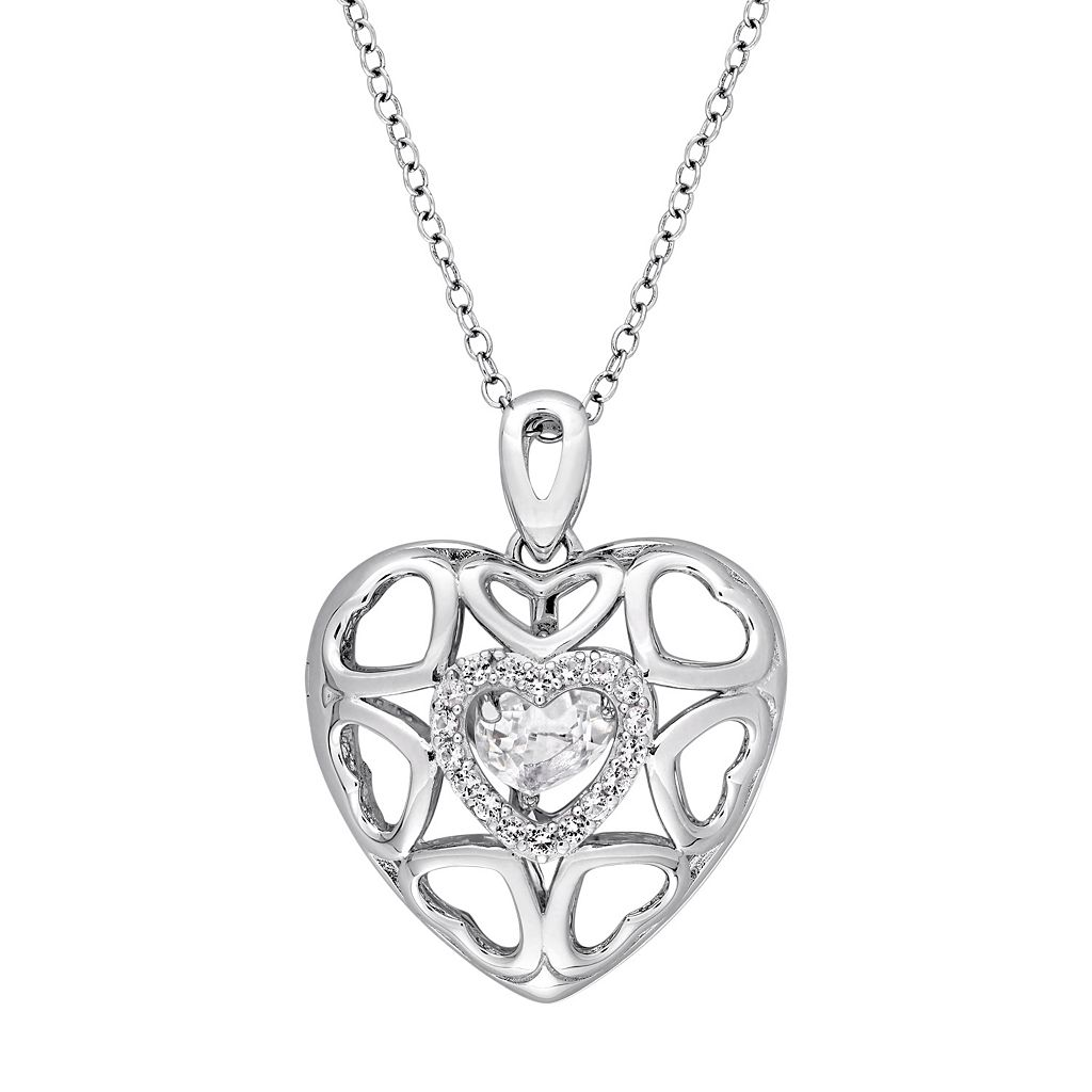 Sterling Silver White Topaz Openwork Heart Locket