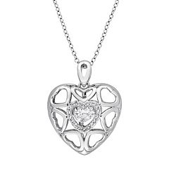 Sterling Silver White Topaz Openwork Heart Locket