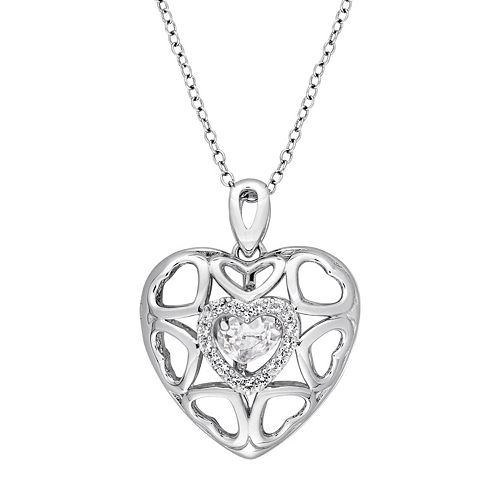 Stella Grace Sterling Silver White Topaz Openwork Heart Locket