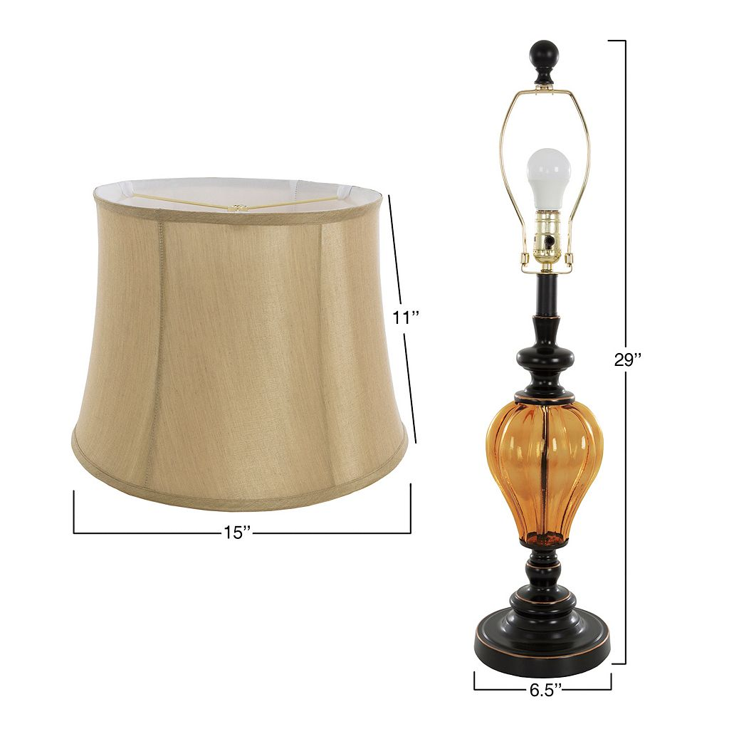 Portsmouth Home Amber Glass Table Lamp & Floor Lamp 3-piece Set