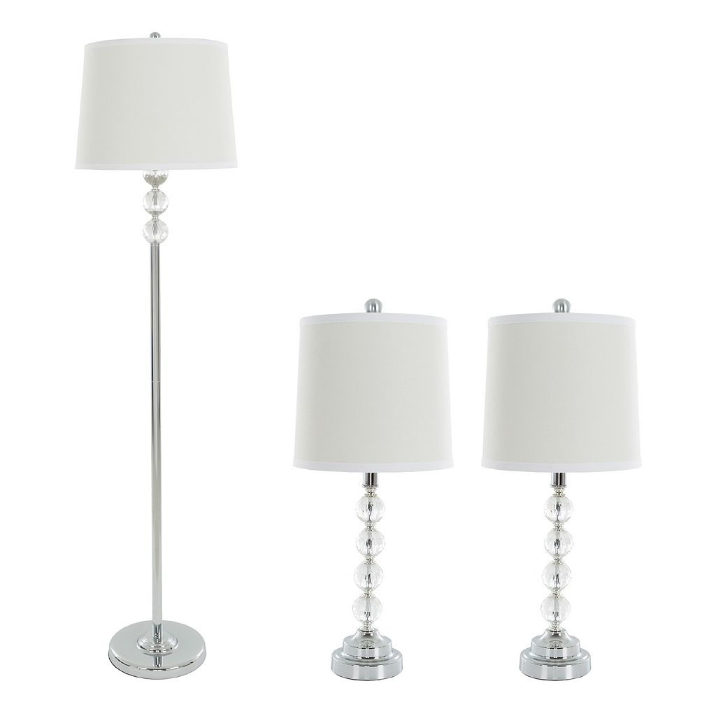 Portsmouth Home Faceted Glass Table Lamp & Floor Lamp 3-piece Set