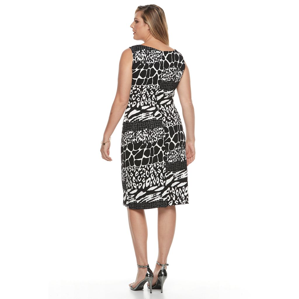 Plus Size Maya Brooke Animal Sheath Dress & Solid Jacket Set