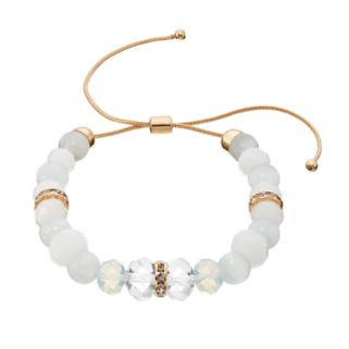 White Beaded Lariat Bracelet