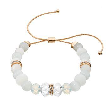 White Beaded Lariat Bracelet