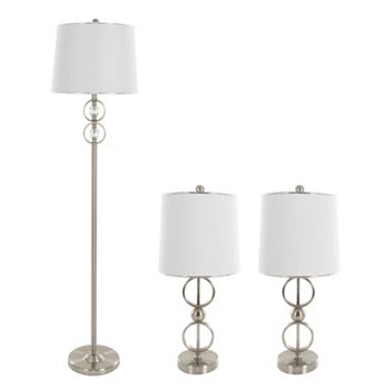 Portsmouth Home Modern Table Lamp & Floor Lamp 3-piece Set