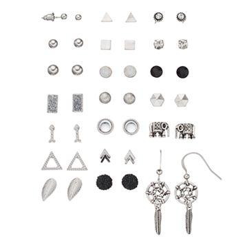 Mudd® Triangle, Elephant & Dream Catcher Nickel Free Earring Set
