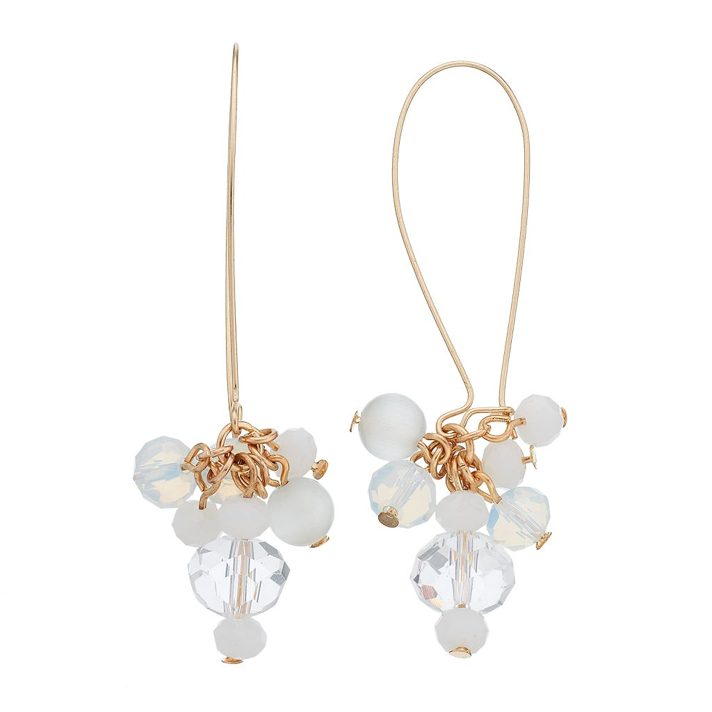 White Faceted Bead Cluster Drop Earrings