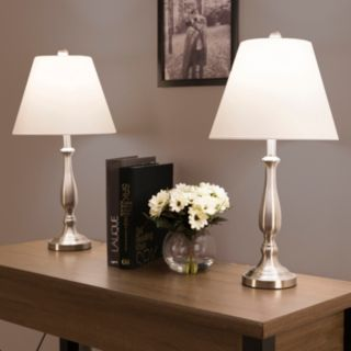 Portsmouth Home Brushed Steel Finish Table Lamp 2-piece Set