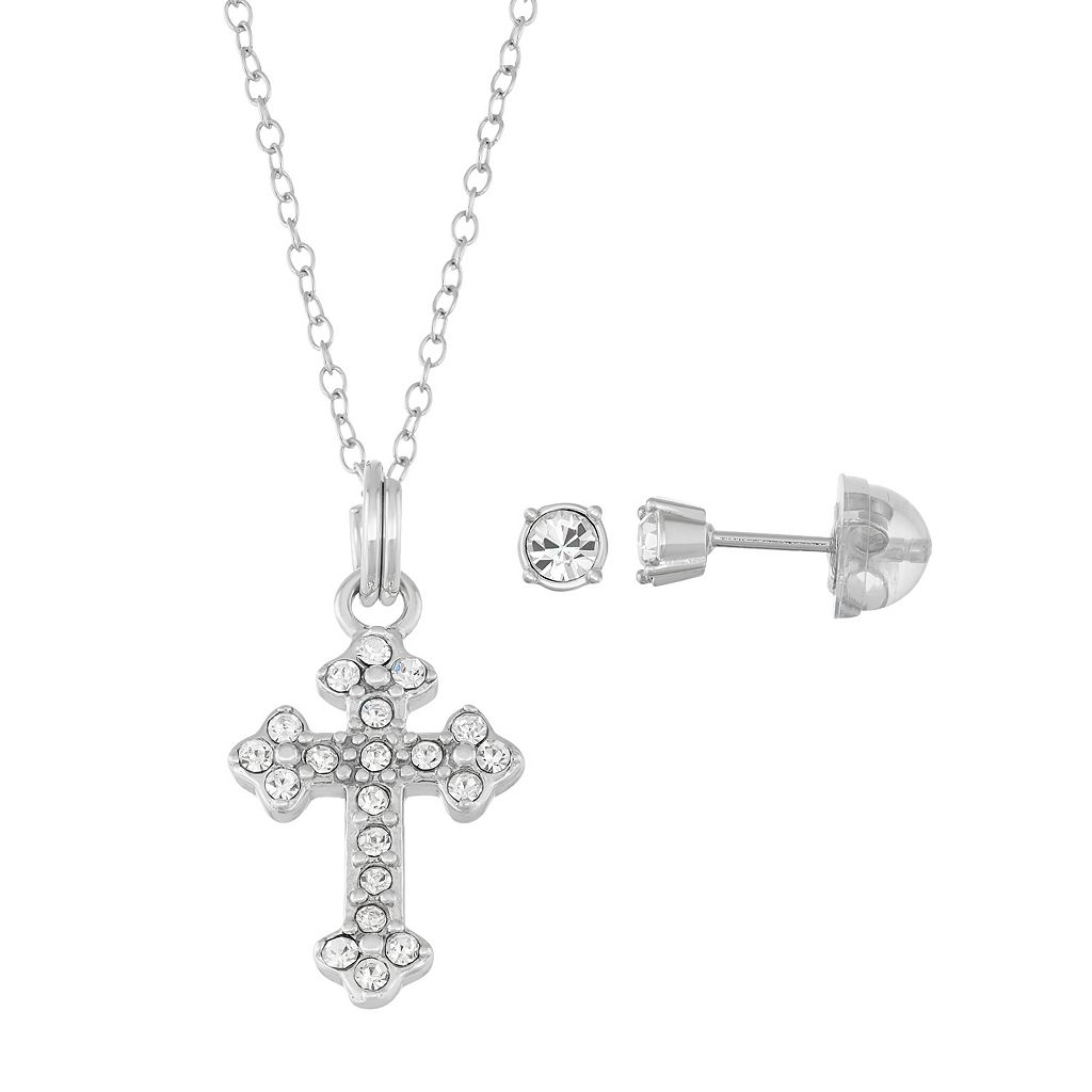 Lulabelle Kids' Sterling Silver Crystal Cross Pendant & Stud Earring Set