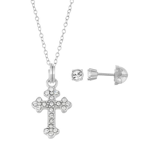 Lulabelle Kids' Sterling Silver Crystal Cross Pendant & Stud Earring Set