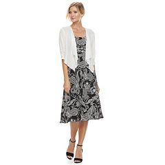 Women's Perceptions 2 pc Paisley Dress & Cardigan Set