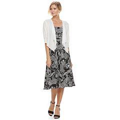 Women's Perceptions 2-Piece Paisley Dress & Cardigan Set