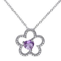 Stella Grace Sterling Silver Amethyst Flower Pendant