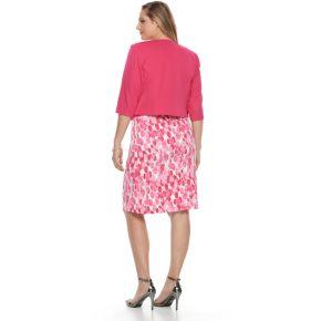Plus Size Maya Brooke Circle Sheath Dress & Solid Jacket Set