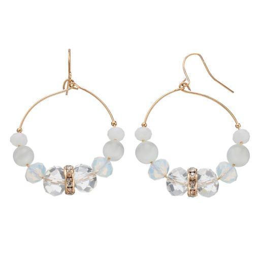 White Beaded Drop Hoop Earrings