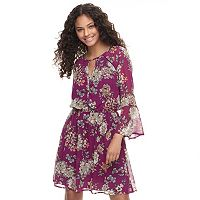Juniors' Speechless Floral Bell Sleeve Fit & Flare Dress